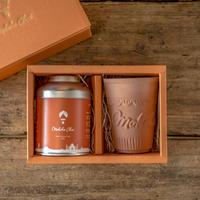 モクシャチャイ 美濃焼き製法オリジナル陶器セット  ティーメジャー付き/Moksha Chai Original Cup as Gift Set with Tea measure