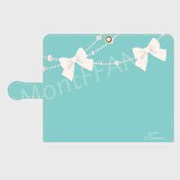 iphone plus&XR/XSMax&AndroidL★名入れ可!ティファニーブルーのパールリボンフラッグ柄♡スマホケース♪