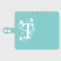 イニシャル入り!iphone plus&AndroidL★ティファニーブルーのフラワーイニシャル柄♡手帳型スマホケース♪