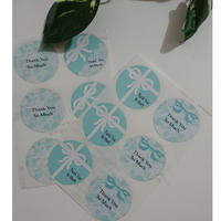 サンキューシール♡ティファニーブルーのリボンギフトボックス柄&リボンレース柄4種類アソート