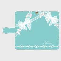 iphone plus&XR/XSMax&AndroidL★名入れ可!ティファニーブルーのガーリーレースリボン柄♡手帳型スマホケース♪