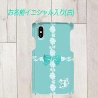 白イニシャル入り★ラインレース&リボン柄♡スマフォケース♪iPhone 5/5 s/ 5c/ 6/ 6s/ 7/ 8/ SE/ X対応