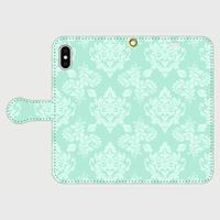 名入れオプション可!手帳型・アラベスク柄スマフォケース・ティファニーブルー色