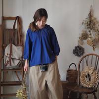 コットンウール後染フラップ衿ブラウス blue 【web価格】