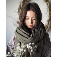 wool麻 大判shawl 手染 カーキ 【web価格】