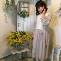 【リクエスト商品】フリル袖ママワンピース / 手染め  naturalbeige 【web価格】