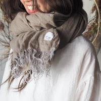 wool麻 大判shawl 手染 ベージュ系 【web価格】
