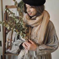 wool麻 大判shawl 手染 ミルクティ 【web価格】