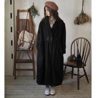 ショールカラーWボタンコート / 遠州織リネン black【web価格】