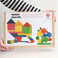 〈3才-5才〉【マグネット玩具】【形の構成遊び玩具】木箱入りマグネットセット ( 小 ) 44ピース