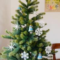 【クリスマス】オーナメント銀の星 (大)4個セット