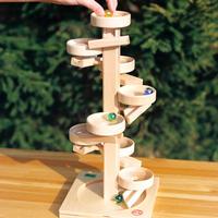 〈3才-大人〉【動きの玩具(見る→動かす】玉の塔 ディスク 白木