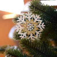 【クリスマス】オーナメントレース スノークリスタル(金) 6枚セット