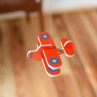 〈3ヶ月-〉【ベビー/見る遊び】モビール(立体)飛行機