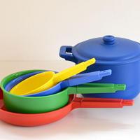 〈2才-7才〉【ままごとキッチンツール】ASCO 鍋セット (蓋つき両手鍋,片手鍋,フライパン)