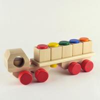 〈1才-4才〉【くるま・汽車】【積木の前の積木/はめ込み玩具】ステッキモビレ 白木