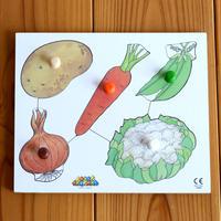〈1才-2才〉【はじめてのパズル】ノブ付きパズル野菜(5ピース)