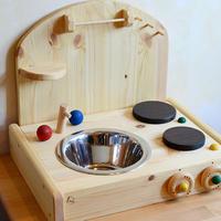 〈2才-〉【ままごと用キッチン】テーブルキッチン ボード付き