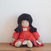 〈3才-〉ジルケ人形(小)女の子 茶色の髪 花柄ワンピース