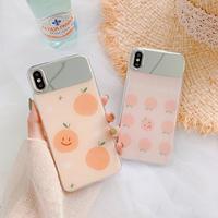 【N424】★ iPhone 6 / 6sPlus / 7 / 7Plus / 8 / 8Plus / X /XS /XR/Xs max★ シェルカバーケース Orange/Peach