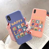 【N402】★ iPhone 6 / 6sPlus / 7 / 7Plus / 8 / 8Plus / X /XS /XR/Xs max★ シェルカバーケース HAPPY