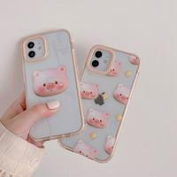 【D038】★ iPhone 12/11/Pro/ProMax /7/8Plus/ X /XS /XR/Xs max★ シェルカバーケース pink pig