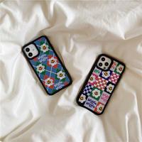 韓国【C645】★ iPhone 12/11/Pro/ProMax /7/8Plus / X /XS /XR/Xs max★ シェルカバーケース  刺繍 オシャレ