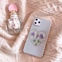 Purple Flower Heart Pearl iPhone case