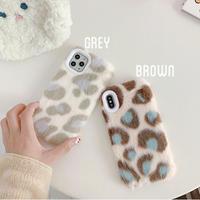 Grey Brown Leopard Fur iPhone case