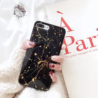 Black Marble with Gold Glitter iPhone case