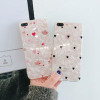 Black Pink Heart Shell iPhone case