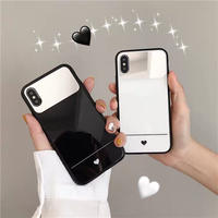 Black White Petite heart Mirror iPhone case