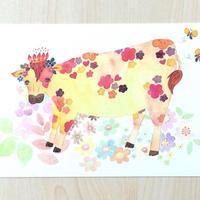 ポストカード〈バラ売り〉 お花うし_PC-Y082