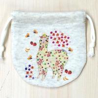 巾着(小) お花のアルパカ_KTS-Y089