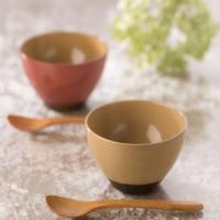 【喜多方市 北見八郎平商店】食卓彩る「喜多方の四季」 塗分けカップとスプーンのセット