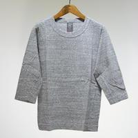 homspun  天竺七分袖Tシャツ・粗挽杢チャコール