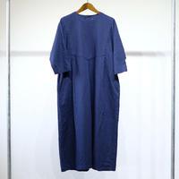 homspun C/L ウェザー ヨーク切替 七分袖ワンピース(ネイビー)