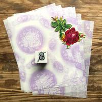 オソブランコ|アルファベットスタンプ(バラ) *バラのクロモスとタイプライター用紙10枚付き*