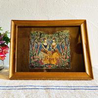 houti 古い額に美しいループステッチの刺繍