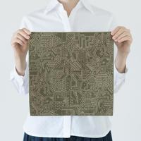 十布|福島の刺子織 ハンカチ モスグリーン