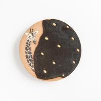 acne pottery studio|14黒釉の流し掛け皿(大)