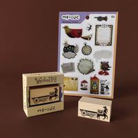 切手のこびと|WonderLand-05 ロバのラデクと荷車 + シール1枚