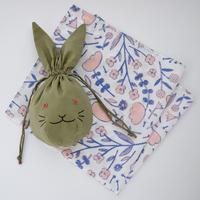 【7月号掲載分】相原暦|ウサ巾着ハンカチセット(カーキ)