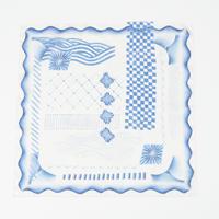 "YUI MATSUDA handkerchief ""blue and white"""