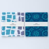 zucu 注染てぬぐい はんぶんサイズ2枚組 Cセット「しかく/水色×薄紫」「花壇/ブルー」