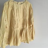 yatra|植物染め シルクコットン ボックスプリーツシャツ myrobalan yellow