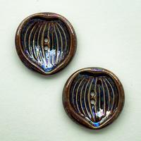 CO-|ヴィンテージ陶ボタン2個セット(リーフ・ブラウン)