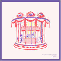 柿崎サラ ポスター「Puppy-Go-Round(ピンク・メリーゴーランド) 」&ステッカーセット
