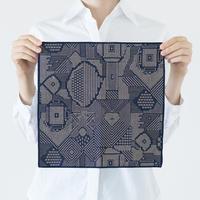 十布|福島の刺子織 ハンカチ ネイビー