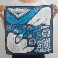 十布|正方形のダブルガーゼ Mサイズ 白熊と植物(紺)
